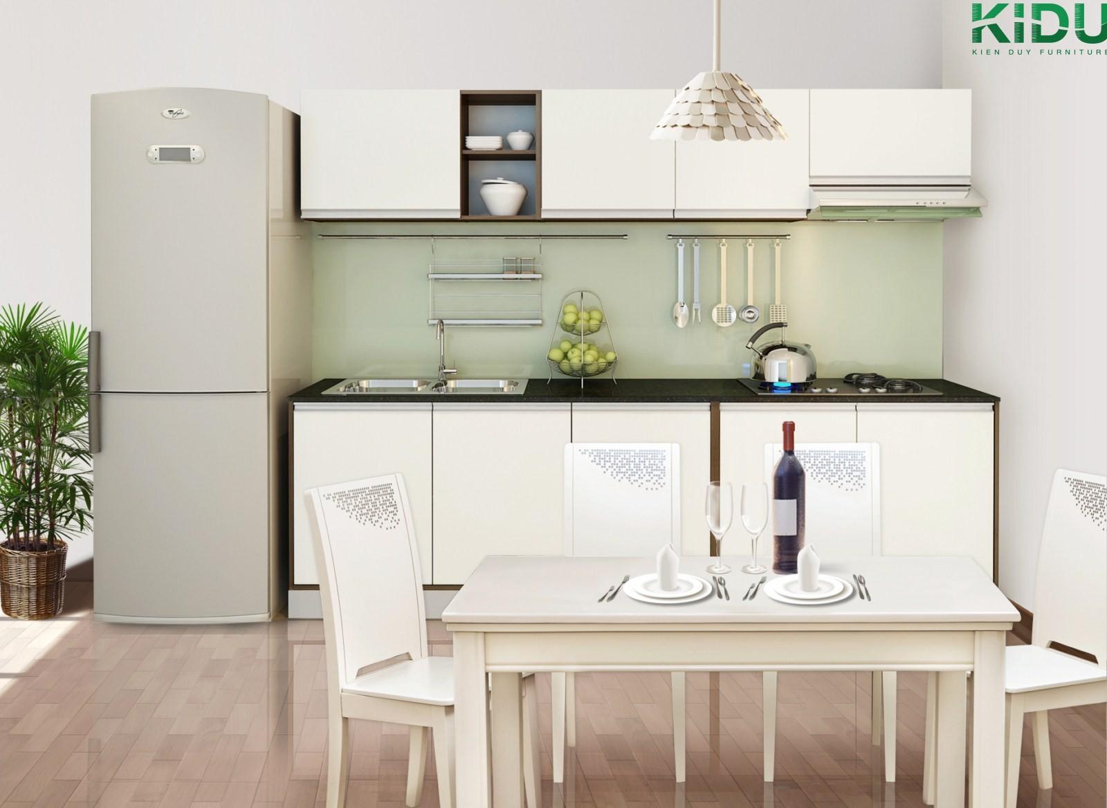 Tủ bếp được thiết kế hài hoà với cả căn bếp