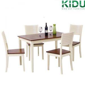 Bàn ăn chữ nhật BA5 gồm 1 bàn lớn, 4 ghế - chất gỗ cao cấp sơn PU