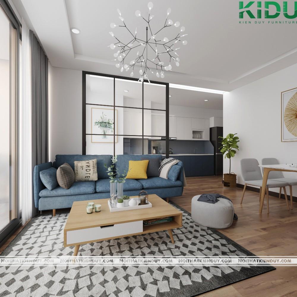 Ghế sofa với tông mà xanh nổi bật, ấn tượng