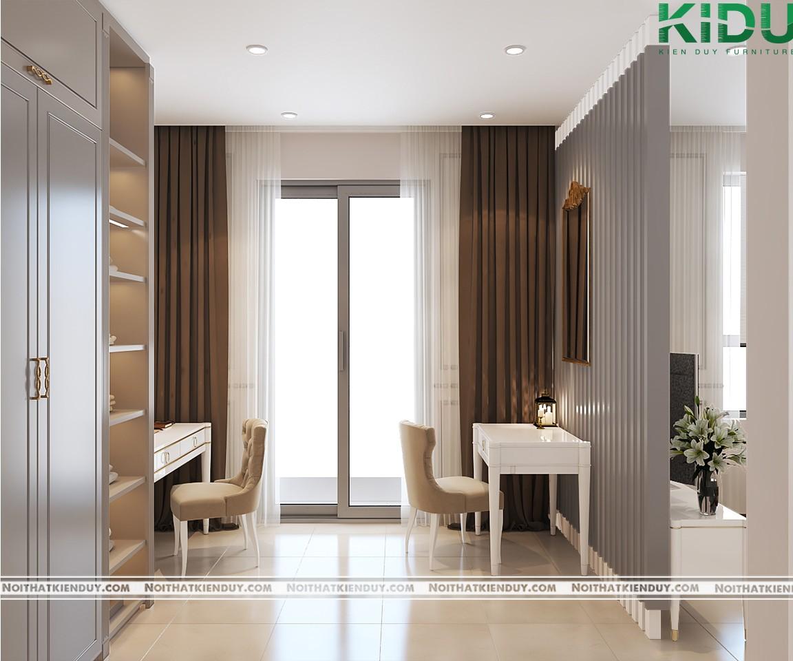 Những thanh gỗ lam màu xám tạo không gian riêng tư cần thiết