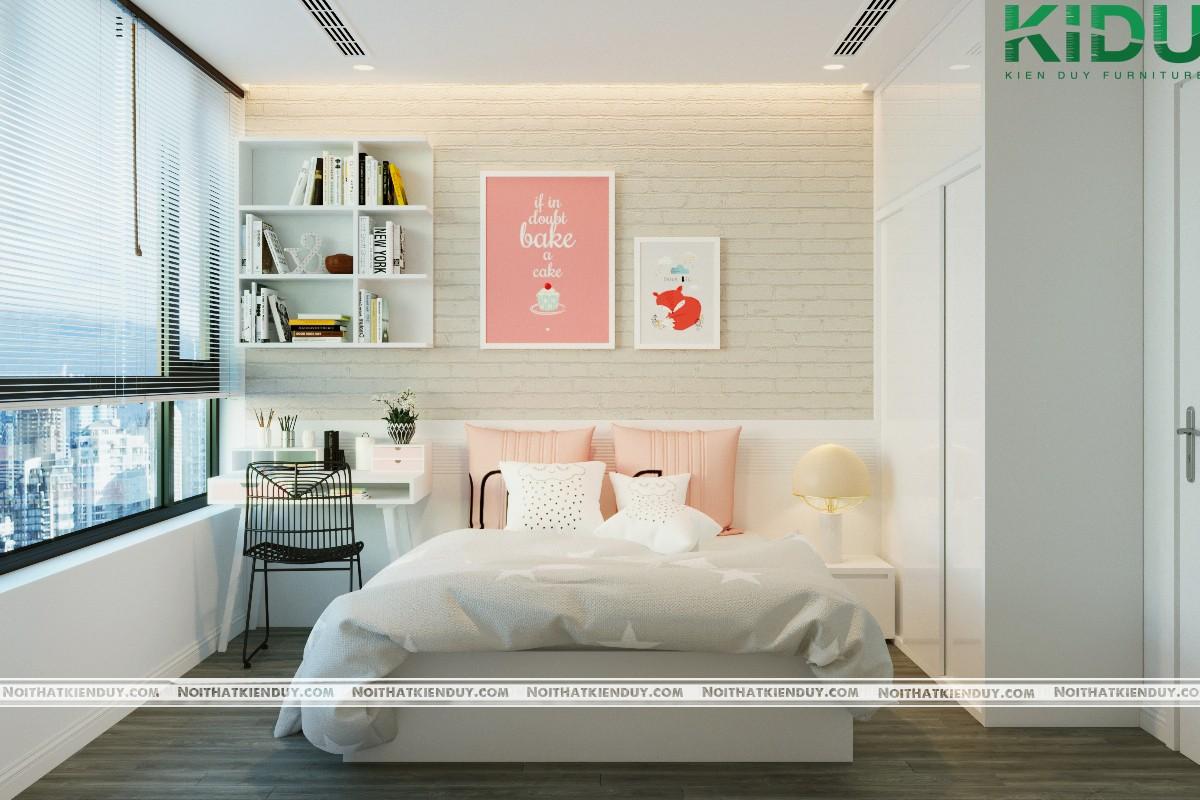 Không gian phòng ngủ ấn tượng với giấy dán tường giả gạch