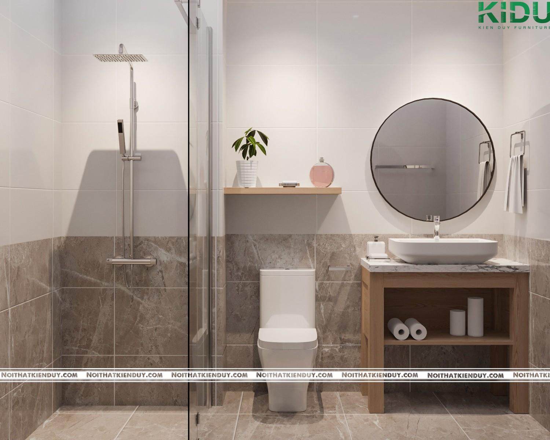 Không gian phòng tắm tạo cảm giác sạch sẽ, rộng rãi