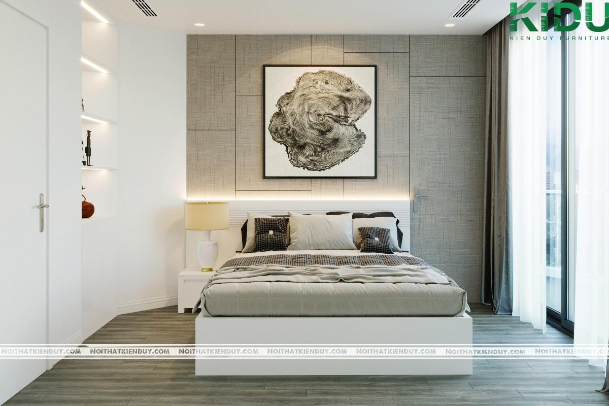 Không gian phòng ngủ với gam màu xám thanh lịch
