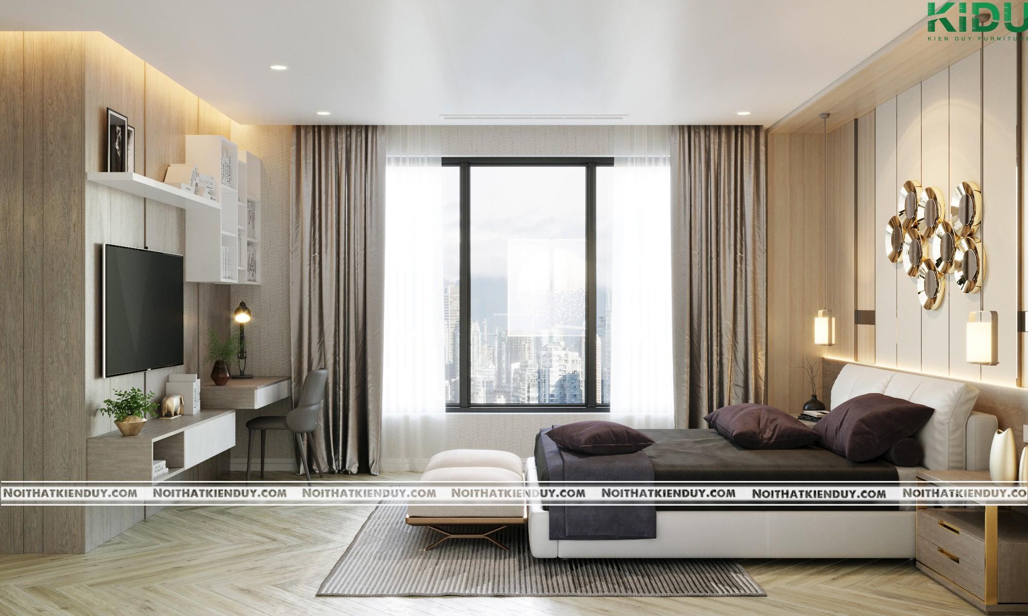 Không gian nội thất của căn phòng ngủ được thiết kế