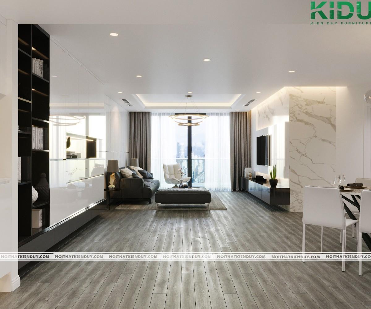 Khung cửa kính lớn giúp phòng khách tràn ngập ánh sáng