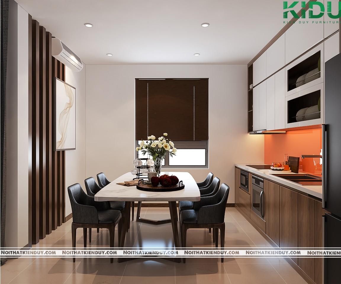 Cửa sổ bằng kính giúp ánh sáng tự nhiên chiếu vào không gian bếp