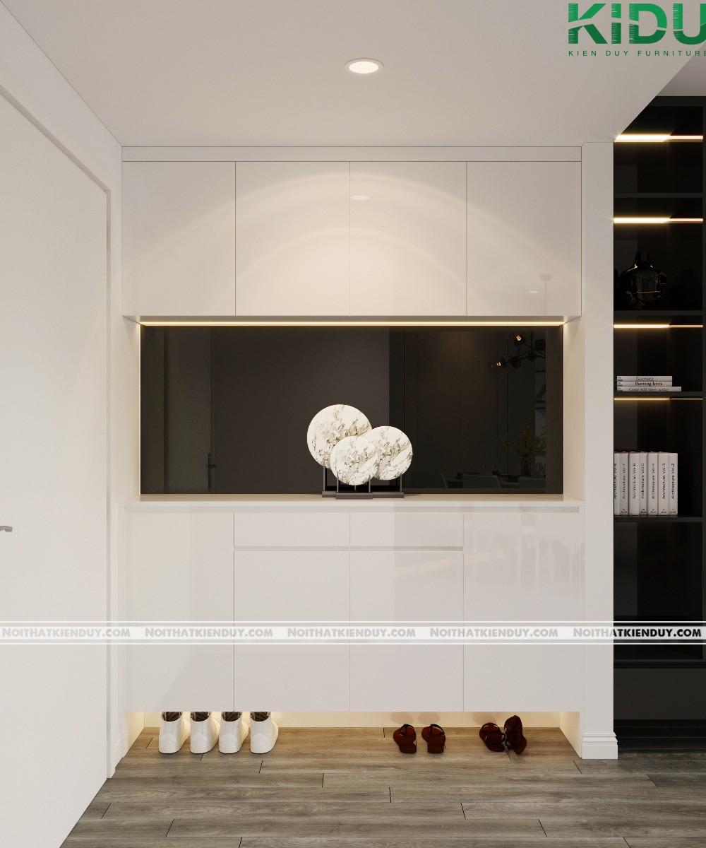 Tủ giày cạnh cửa ra vào với tông màu trắng tinh tế