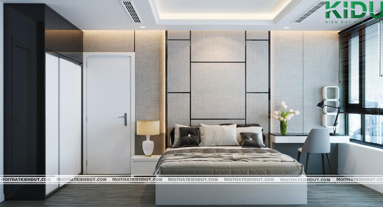 Không gian phòng ngủ với màu sắc hài hòa, sang trọng