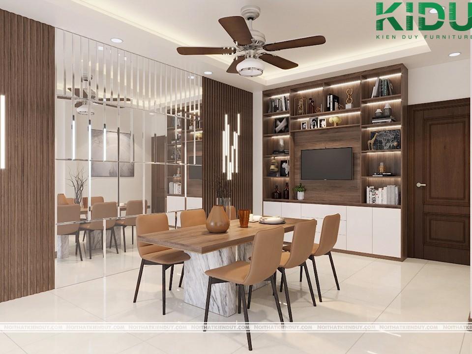 Phòng ăn được thiết kế ấm cúng