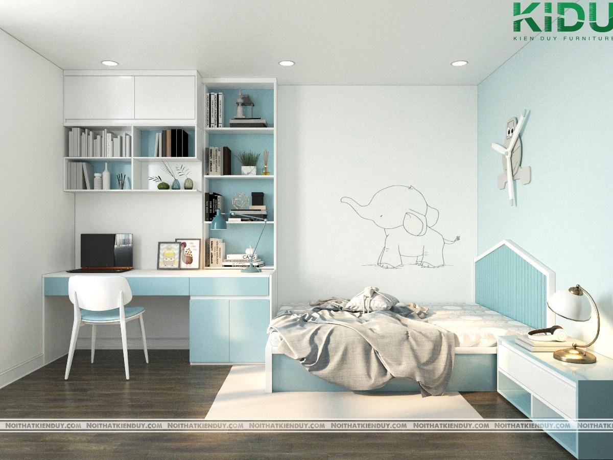 Tông màu xanh - trắng mang đến sự tươi mới, thông thoáng cho căn phòng