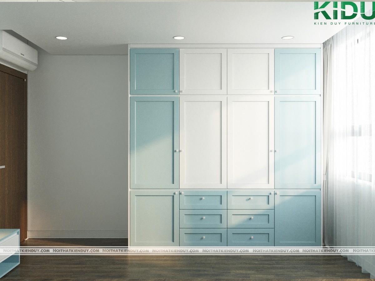 Tủ được cùng tông màu xanh - trắng với cả căn phòng mang lại sự hài hoà trong thiết kế