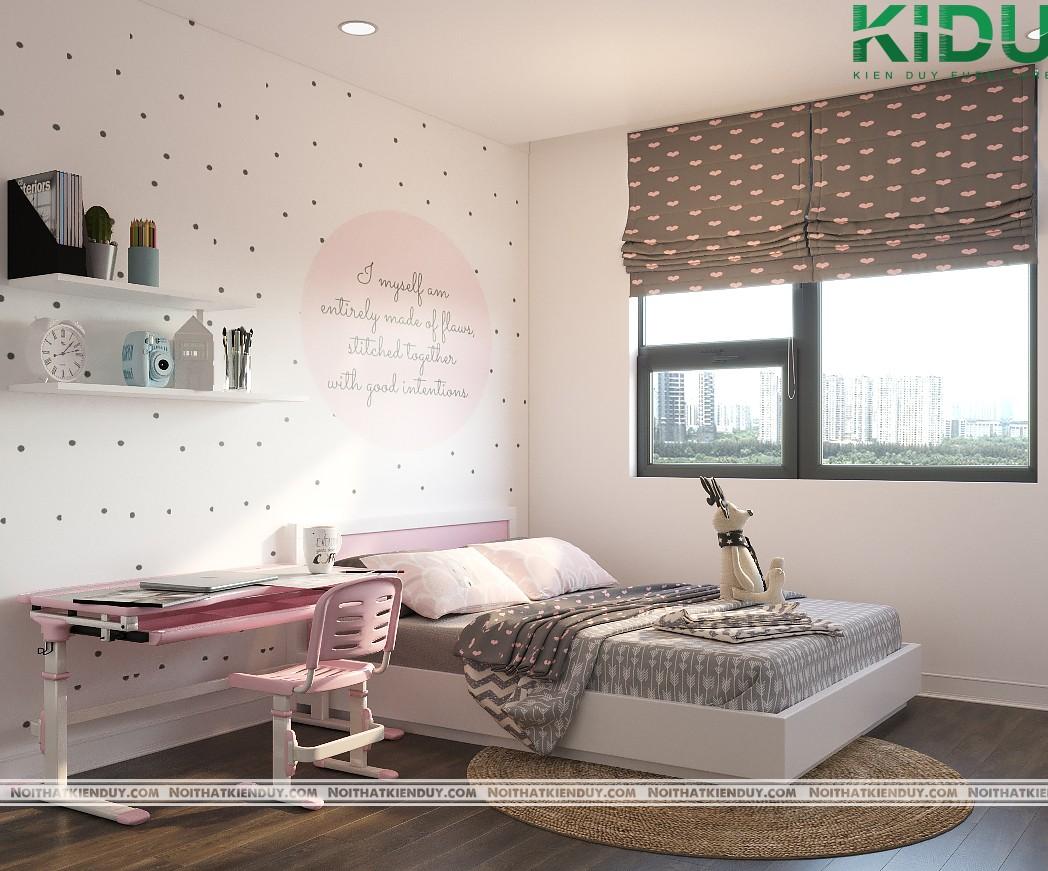 Giường ngủ và bàn học được bố trí gần nhau để tiết kiệm không gian