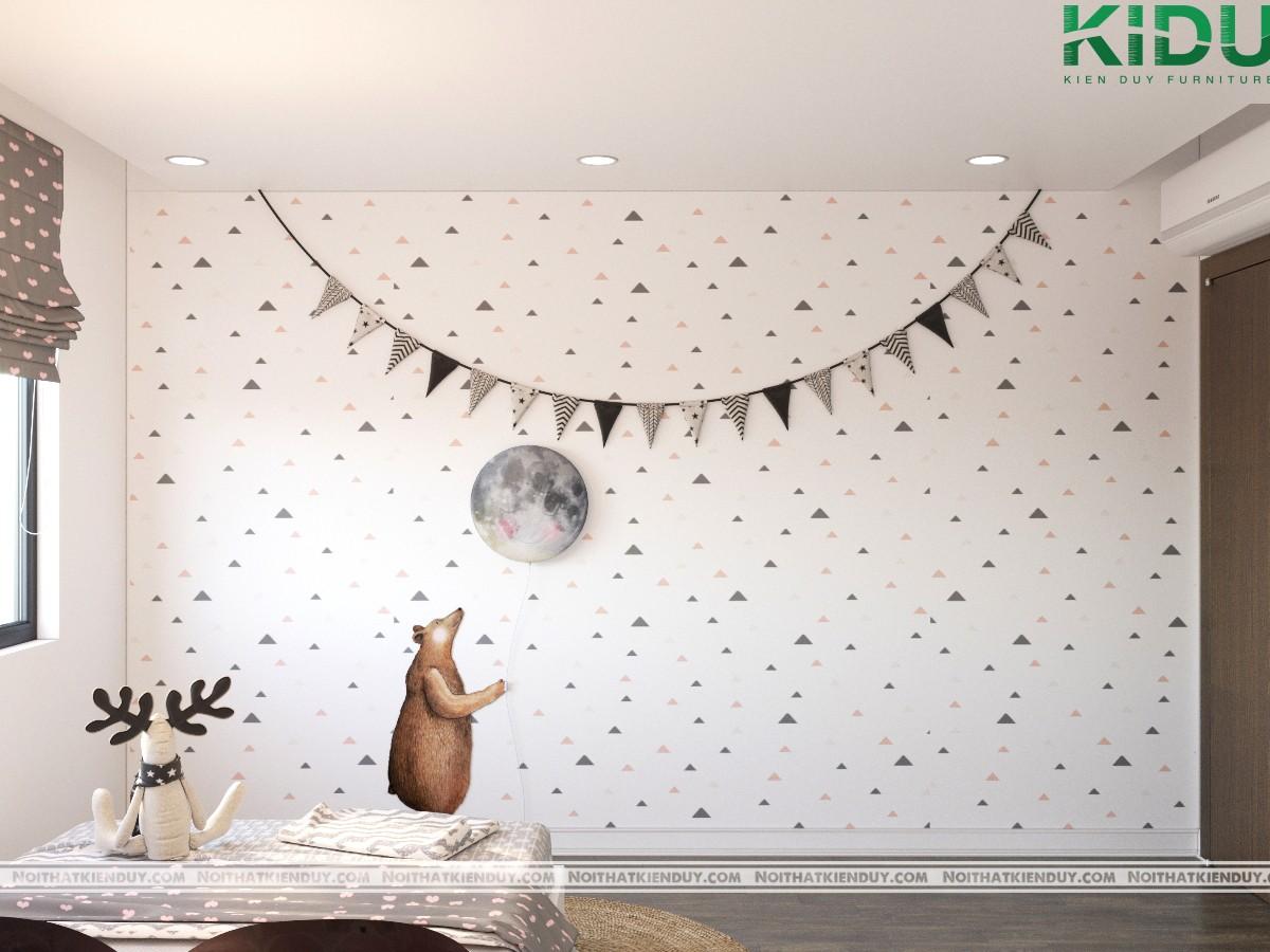 Phòng ngủ con gái có thêm những nét chấm phá tạo nên sự mơ mộng
