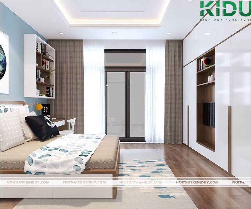 Thiết kế phòng ngủ độc đáo với nội thất đơn giản nhưng vẫn đảm bảo được sự tiện nghi. Tông màu dịu nhẹ mang đến sự thoải mái, thư giãn.