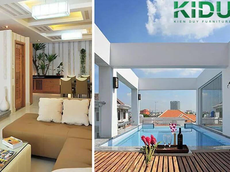 Những mẫu thiết kế nhà phố có bể bơi đẹp trên sân thượng