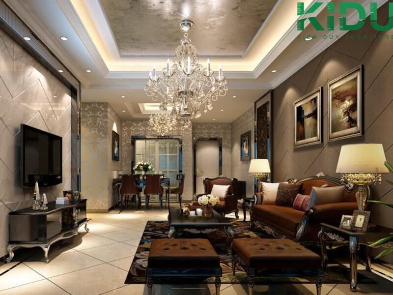 Căn hộ chung cư phong cách tân cổ điển thích hợp thiết kế nội thất phòng khách chung cư 70m2