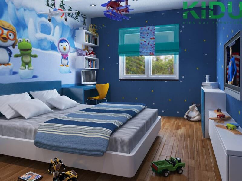 trang trí giấy gián tường cho phòng ngủ trẻ em