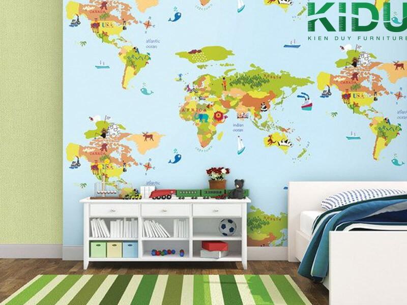 Trang trí phòng ngủ bằng giấy dán tường dành cho trẻ em