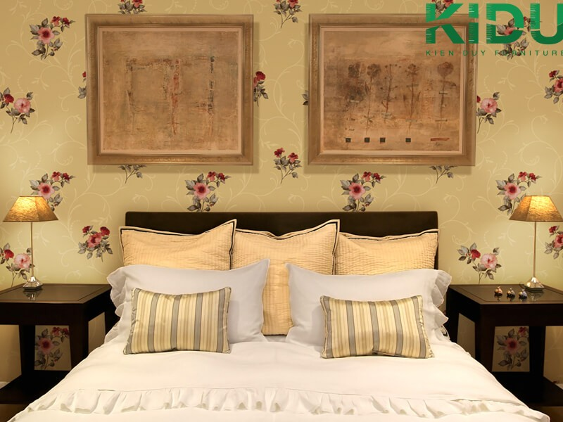 Trang trí phòng ngủ bằng giấy dán tường phong cách Vintage