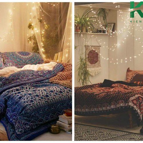 Tận dụng những dây đèn làm sáng không gian phòng ngủ dưới tầng hầm