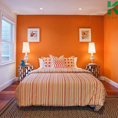 Phòng ngủ màu cam khá ấn tượng nếu biết cách trang trí