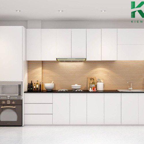 Tủ bếp chữ L phù hợp với phòng bếp không gian hẹp